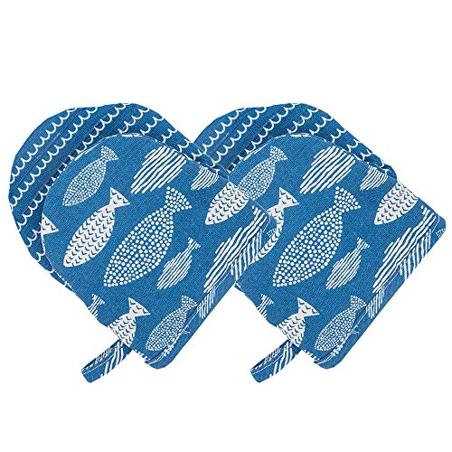 AYADA Ofenhandschuh Silikon Topfhandschuhe, Topflappen Handschuh Kurz Backhandschuhe Backofen Handschuhe Oven Gloves Oven Mitts Kochhandschuhe Backofenhandschuhe Küchenhandschuhe 2 Pack (Blau)