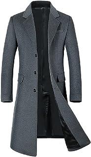 BININBOX Abrigo de lana para hombre de otoño e invierno engrosamiento hasta la rodilla