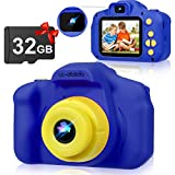 Kids Camera, 32 GB Toddler Camera Kids Digital Video Camera 1080P Birthday Toys Gifts for Boys Girls 3 4 5 6 7 8 Year Old Rechargable 2.0 Inch (Blue)