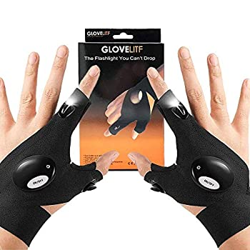 LED Flashlight Gloves Work Gloves with Lights Top fathers day gifts Handsfree Light for Fishing Gloves with lights gadget for Repairing Fishing Camping Hiking in Dark Place finger flashlight