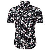 T-Shirt Top Flower Casual Button Down Down Manica Corta Camicia Hawaiana Estiva Sottile Allentata con Colletto rovesciato Stampato da Uomo (XXL,6- Multicolore)