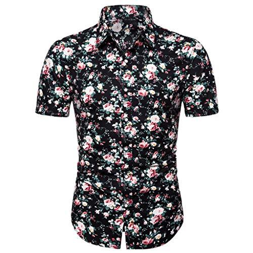 T-Shirt Top Flower Casual Button Down Down Manica Corta Camicia Hawaiana Estiva Sottile Allentata...