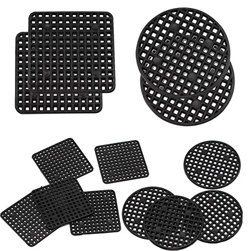 Flower Pot Hole Mesh Pad, 100PCS 2.2 Inches Round Bonsai Pot Bottom Grid Mat Mesh, 50PCS 2.2 x 2.2 Inches Square Garden's Drainage Plastic Drainage Screens Breathable Gasket for Outdoor Potted
