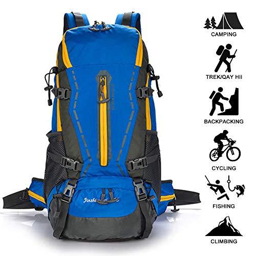 HUOFEIKE Leichte Wanderrucksack, 50L Großer Rucksack für Männer Frauen, Reiß- und Wasserdicht Ideal zum Klettern Camping Trekking-Reisen im Freien,BH