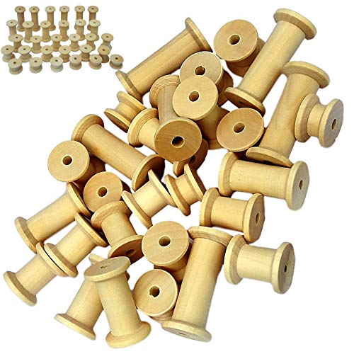 30 Holzspulen, leere Spulen, naturbelassen, Nähband, Nähen, Basteln