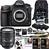 Nikon D850 FX-Format Full Frame Digital SLR DSLR Wi-Fi 4K Camera Body with AF-S FX NIKKOR 24-120mm f/4G ED VR Lens + Deco Gear Backpack Accessory Kit 2X 64GB (128GB Total) Triple Battery Pro Bundle