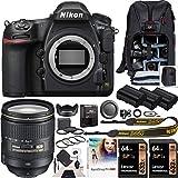 Nikon D850 FX-Format Full Frame Digital SLR DSLR Wi-Fi 4K Camera Body with AF-S FX NIKKOR 24-120mm f/4G ED VR Lens + Deco Gear Backpack Accessory Kit 2X 64GB (128GB Total) Triple Battery Pro Bundle