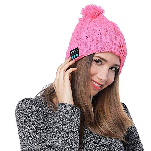 Bluetooth Beanie Hat for Women, Winter Warm Cap Hands Free Microphone & Stereo Wireless Headphone for Outdoor Sport (Pink)
