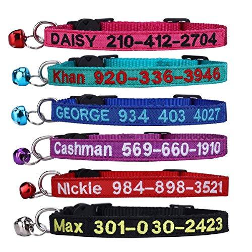 TaiHong Collare Personalizzato per Gatti, con Campanellino e ID Ricamato e Numero di Telefono