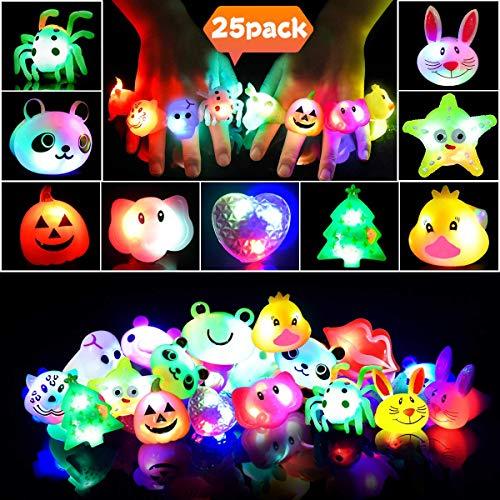 Anillos LED Favores de Fiesta Halloween para Niños Anillos Luminosos de Silicona para Niñas Juguete Luminoso de Premio para Estudiante, Artículo de Cumpleaños, Suministro de Fiesta Navidad, 25 Piezas