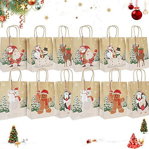 12 PCS Papiertüten,Weihnachten Geschenktaschen,Geschenkbox,Geschenktüten mit Griff Kraftpapier,papiertüten weihnachten,Süßigkeiten Tüten,Geschenktüten,Weihnachten Papiertüte(A)