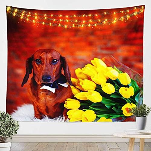 Tapiz estampado de perro para niñas y niños, botánico, estampado floral, manta de pared para colgar en la pared, diseño de animales en 3D, decoración de habitación, manta pequeña de 156 x 200 cm