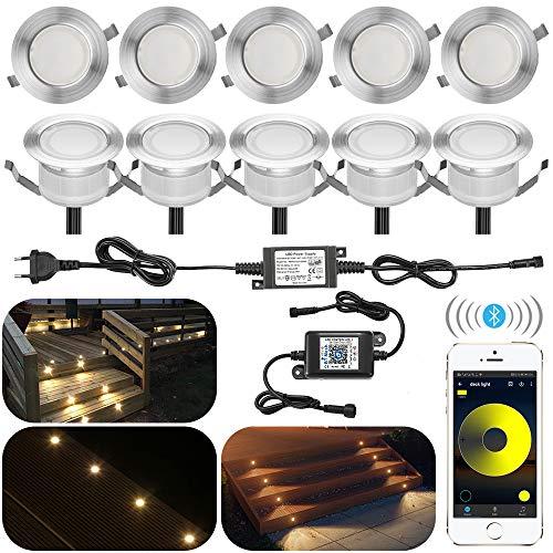 10er Set Bluetooth Dimmbar Warmweiß Led Bodeneinbaustrahle Aussen 1W Ø45mm IP67 Wasserdicht LED Einbaustrahler Terrasse Garten Led Lampe Full Kit
