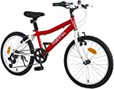Moma Bikes, équipé Shimano Vélo de 20' SHIMANDO 7 Vitesses, Ideal partir de 120 a 135cm Mixte Enfant, Rouge