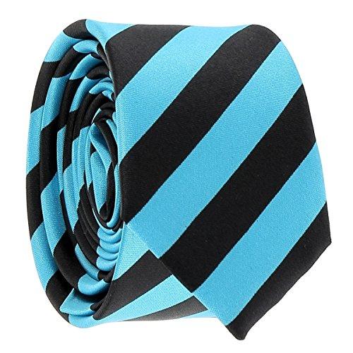 Cravate Rayures Larges Turquoise et Noire - Cravate rayée