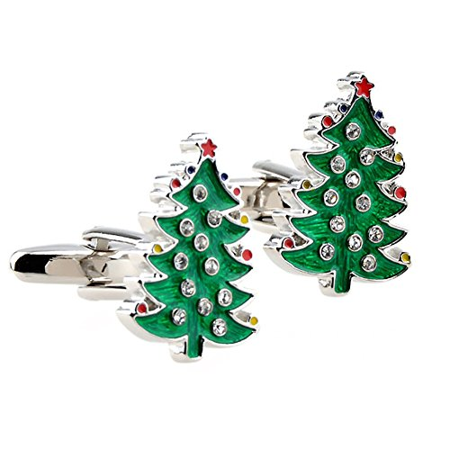 The smith's eshop Boutons de manchette en forme d'arbre de Noël vert