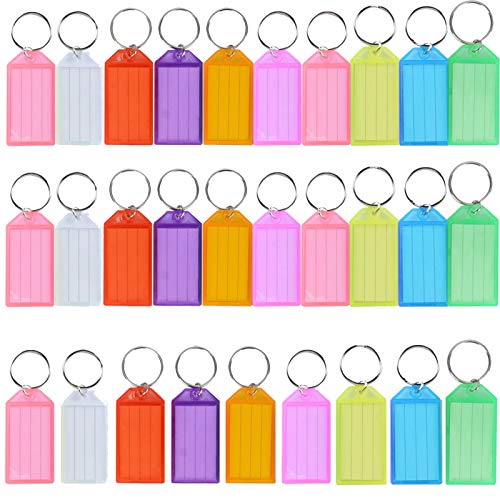 30 PCS Key Tags, Key Fobs Labels Key Rings Name Tags Key Label Tags with Split Ring Key Tags Paper Plastic Key Tags with Labels Heavy Duty for Luggage Pet Id Name Office Key Label 9 Colors