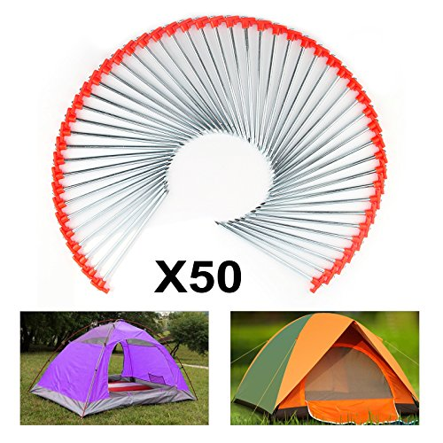 AllRight Tent Pegs 50 Pcs Camping Metal Pegs,25cm Heavy Duty Metal Ground Standing Pegs Tent Accessories for Netting