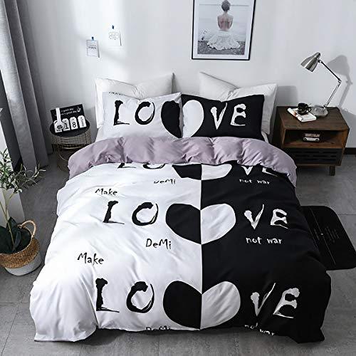 chenyu - Set di biancheria da letto matrimoniale con copripiumino e federa per cuscino, con chiusura a cerniera, motivo: cuori