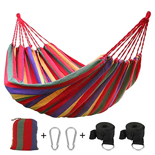 You's Auto Outdoor Garden Cotton Hammock Double Hammock,Lengthen and Widen 270 x 150 cm Up to 200KG with 2 carabiner and 2 broadband for Travel and Garden (Red)