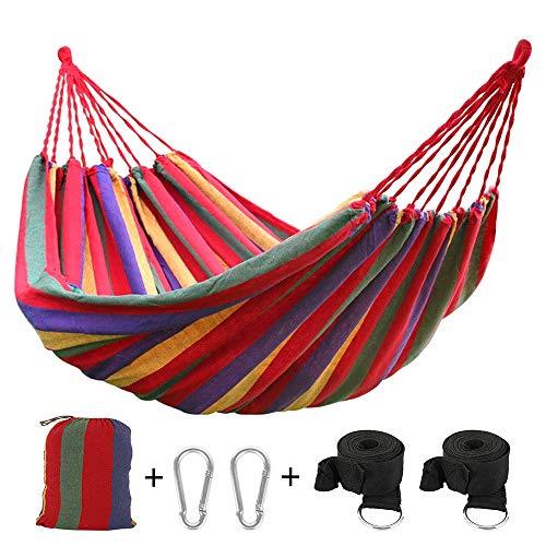 You's Auto Hängematte für den Außenbereich, Baumwolle, Doppel-Hängematte, 270 x 150 cm, bis 200 kg, mit 2 Karabinern und 2 Breitband für Reisen und Garten