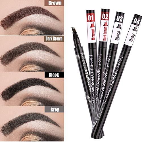 Eyebrow Pencil Black Brown Gray Liquid Eyebrows Pen Waterproof Eyebrow Tattoo Pens Long Lasting Pencil with a Micro-Fork Tip Dyed Long-Lasting Eye Makeup Tools Anti-Sweat (03# Black)