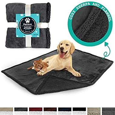 PetAmi Deluxe Dog Blanket for Couch | Pet Blanket for Puppy and Large Dogs | Reversible Sherpa Fleece Plush Cat Throw – 40 x 50 Inches Grey Grey