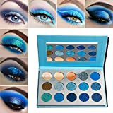 Eyeshadow Palette Blue Matte Shimmer Make up,Afflano Blu Palette Ombretti Opachi Set Naturali Professionali Waterproof,Ombretto Dreamy Beige Colorati Brillantinati Metallic Cream Vegan Eyeshadows