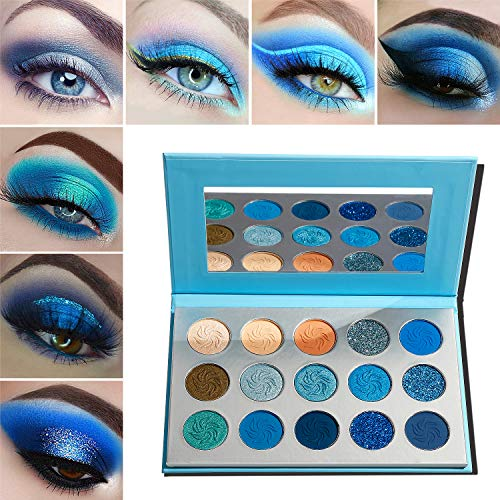 Oogschaduw Palette Blue Matte Shimmer Bedenken,Afflano High Pigment Langdurige Pallet Eyeshadow,Glitter Zilver Donkergrijs Naakt Rokerig Zacht Glam Metallic Crème Bright Girl Dames Vegan Eye Shade