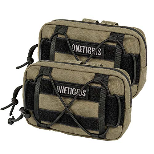 OneTigris EDC Horizontal MOLLE Pouch for Tool Treat Med (2 Pack, Coyote Brown)
