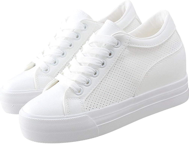 Webb Perkin Women Hidden Wedge Casual Lace Up Solid color Walking shoes Female Black White Platform Sneaker