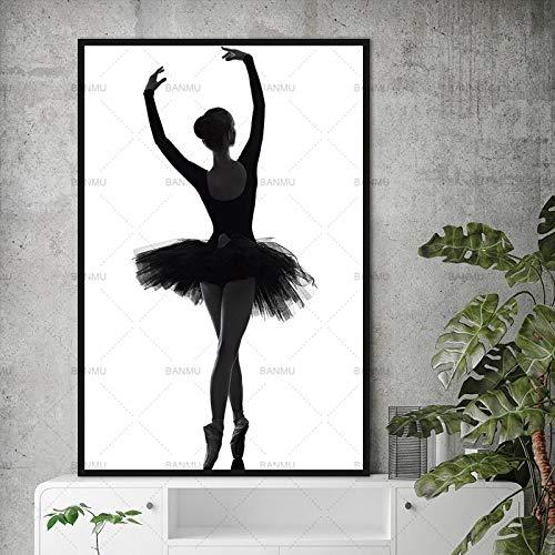 Geiqianjiumai Muur kunst foto decoratie foto ballerina elegante moderne canvas woonkamer muur kunst frameloze schilderij