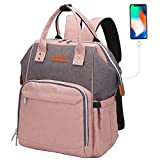 Nappy Changing Bag Backpack,Baby Diaper Bag Nappy Back Pack with USB Charging Port