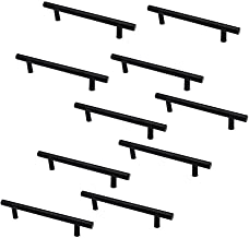 Set van 10 NUZAMAS Mat Zwart Kabinet Deur T-Handgrepen en Trekken, Meubelladegrepen, Zinklegering, 177mm lang, Keukenkast ...
