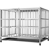 PupClub Foldable Heavy Duty Dog Crate for Large Dogs - Stainless Steel Heavy Duty Extra Large Dog Kennel XL Metal Dog Crate with Wheels - 38 inch Big Dog Cage for Large Dogs Kennel Indoor and Outdoor