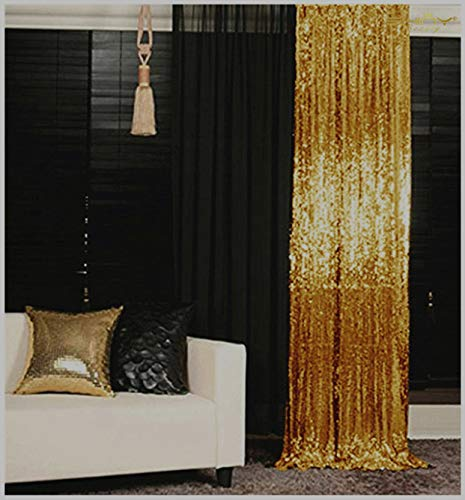 Sequin Curtains 2 Panels 2FTx8FT Gold Glitter Backdrop Gold Sequin Photo Backdrop Wedding Pics Backdrop Y1121