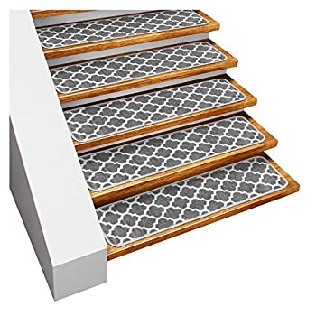 House Home and More Set of 15 Skid-Resistant Carpet Stair Treads – Moroccan Trellis Lattice – Misty Gray & Linen White – 8 Inches X 26 Inches