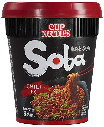 Nissin Cup Noodles Soba Cup – Chili, 1er Pack, Wok Style Instant-Nudeln japanischer Art, mit Chili-Sauce, -Schoten & Gemüse, schnell im Becher zubereitet, asiatisches Essen (90 g)