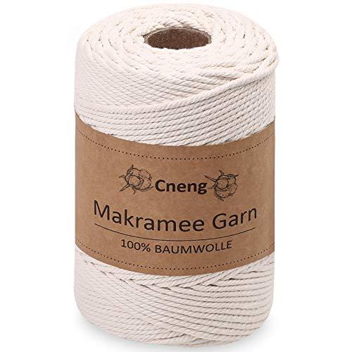 Cneng Makramee Garn 4mm x 200m Baumwollgarn ,100% Baumwolle - Baumwollkordel Baumwollseil Makramee Kordel Natur für DIY Basteln Wandbehänge -Beige
