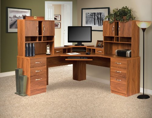 American Furniture Classics L-Work Center with Monitor Platform and Two Hutches