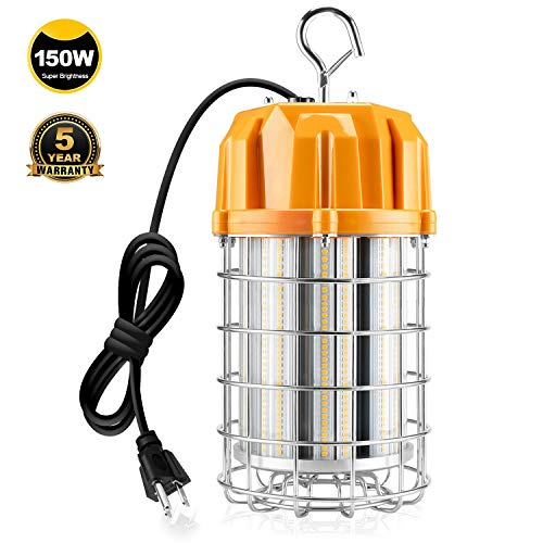 150 Watt LED Temporary Construction Lighting Plug-n-Play 5000K 21750LM Replace 800W MH/HID/HPS, Hanging Portable Work Lights with 10ft Cord US Plug Instant On Job Site Warehouse Garage Lighting IP65