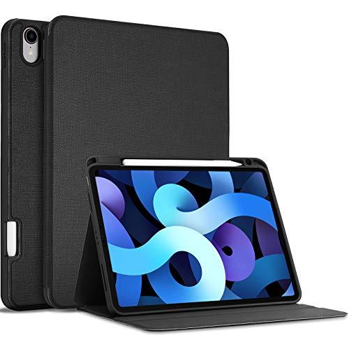 ProCase Buchdeckel Hülle für iPad Air 4 Generation 10.9 Zoll 2020, Buch Case Cover Design [Unterstützt 2. Gen iPencil Aufladen],Schutzhülle mit Auto Aufwachen/Schlaf –Schwarz