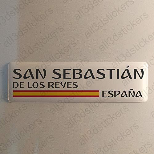 Pegatina San Sebastian de los Reyes España Resina, Pegatina Relieve 3D Bandera San Sebastian de los Reyes España 120x30mm Adhesivo Vinilo