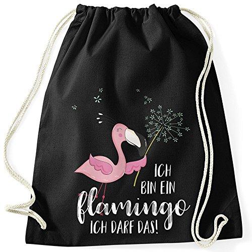 MoonWorks Turnbeutel Flamingo Ich Bin EIN Flamingo ich darf das Spruch Pusteblume schwarz Unisize