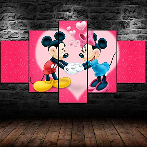 ADKMC 5 Piece Canvas Wall Art for Living Room Decorations Prints Cute Minnie Mouse Mickey Kid Poster Abstract Modern Home Decor The Room Stretched and Framed Ready to Hang Artwork (150x80cm)