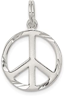 Solid 925 Sterling Silver Pendant Diamond-Cut Peace Sign Symbol Charm (22mm x 15mm)
