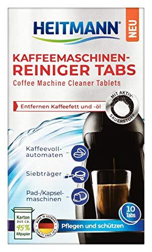 HEITMANN Kaffeemaschinen-Reiniger-Tabs - 10 Stück - Für Kaffeevollautomaten, Siebträger sowie für Pad- und Kapselmaschinen
