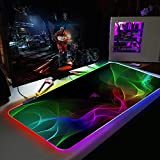 Colorful Smoke RGB Gaming Mouse Pad Large LED Glowing Keyboard Mice mat with 14 Light Modes for Gaming, PC, Laptop, Desk,24x12x0.15 inch