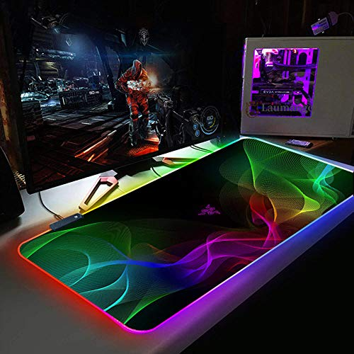 Colorful Smoke RGB Gaming Mouse Pad Large LED Glowing Keyboard Mice mat with 14 Light Modes for...