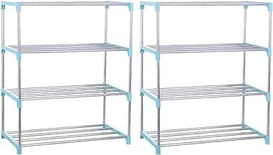 zhangcr Lot de 2 étagères de rangement en acier inoxydable à 4 étages